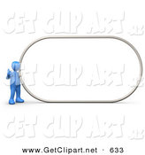 3d Clip Art of a Blue Man Giving the Thumbs up While Standing by a Big Blank Sign Which Is Ready for an Advertisement by 3poD