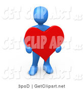 3d Clip Art of a Blue Man Holding a Big Read Heart by 3poD