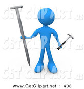 3d Clip Art of a Blue Man Holding a Large Nail and a Tiny Hammer, Stuck Dealing with Trying to Accomplish a Complicated Task by 3poD