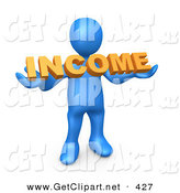 3d Clip Art of a Blue Man Holding an Orange Income Sign by 3poD
