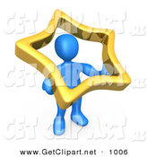 3d Clip Art of a Blue Man Holding up a Golden Star to Symbolize That They Are Famous by 3poD