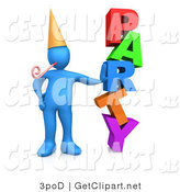 3d Clip Art of a Blue Man in a Gold Party Hat with a Party Blower, Leaning Against the Colorful Word Party by 3poD