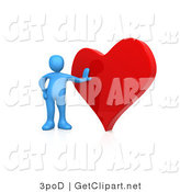3d Clip Art of a Blue Man Leaning Against a Big Red Heart by 3poD