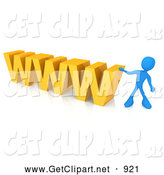 3d Clip Art of a Blue Man Leaning Against a Yellow WWW by 3poD