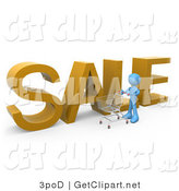 3d Clip Art of a Blue Man Pushing a Shopping Cart by a Large Golden Sale Sign in a Store by 3poD