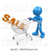 3d Clip Art of a Blue Man Pushing a Shopping Cart in a Store with the Word Sale in It by 3poD
