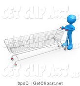 3d Clip Art of a Blue Man Pushing a Super Long Shopping Cart in a Store While Planning to Purchase a Lot by 3poD