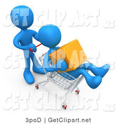 3d Clip Art of a Blue Man Pushing Another Person Who Is Holding a Cube and Riding in a Shopping Cart in a Store by 3poD