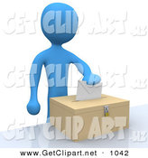 3d Clip Art of a Blue Man Putting Their Voting Envelope in a Ballot Box During a Presidential Election Blue Man Putting Their Voting Envelope in a Ballot Box During a Presidential Election by 3poD