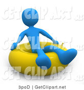 3d Clip Art of a Blue Man Relaxing and Floating on a Yellow Inner Tube in the Ocean on Summer Vacation by 3poD