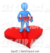 3d Clip Art of a Blue Man Stading on a Red Heart Platform and Holding the Word You by 3poD