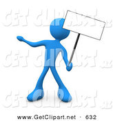 3d Clip Art of a Blue Man Standing and Holding up a Blank Sign for an Advertisement by 3poD