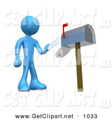 3d Clip Art of a Blue Man Standing in Front of a Mailbox with the Red Flag Up, Mailing a Letter by 3poD