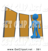 3d Clip Art of a Blue Man Standing in Front of a Trio of Different Doors, Symbolizing Different Paths to Take for Job Opportunities or Life Choices by 3poD