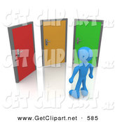 3d Clip Art of a Blue Man Standing in Front of Three Different Colored Doors, Symbolizing Different Paths to Take for Job Opportunities or Life Choices by 3poD