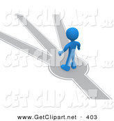 3d Clip Art of a Blue Man Standing on a Path That Forks off into Different Directions, Trying to Decide Which Way to Go by 3poD