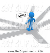 3d Clip Art of a Blue Man Standing on a Path That Forks off into Different Directions, Trying to Decide Which Way to Go While Facing a Links Sign by 3poD