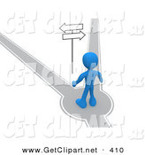 3d Clip Art of a Blue Man Standing on a Path That Forks off into Two Different Directions, Trying to Decide Which Way to Go While Facing Arrow Signs by 3poD