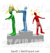 3d Clip Art of a Blue Man Standing on the Winning Teir of a Podium and Whacking the Runner up with a Golden Trophy Cup After Hitting the 3rd Place Runner up on the Head by 3poD