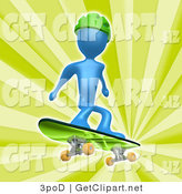 3d Clip Art of a Blue Man Wearing a Green Helmet and Skateboarding over a Green Background by 3poD