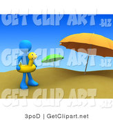 3d Clip Art of a Blue Man Wearing a Yellow Inner Tube with a Face Around Their Waist and Standing by Beach Umbrellas at a Sandy Beach on Summer Vacation by 3poD