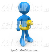 3d Clip Art of a Blue Man Wearing a Yellow Inner Tube with a Face Around Their Waist at the Beach on Summer Vacation by 3poD