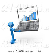 3d Clip Art of a Blue Person Holding an Oversize Laptop Computer with an Ascending Bar Graph on the Screen by 3poD