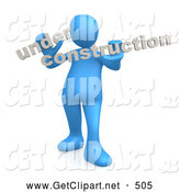 3d Clip Art of a Blue Person Holding Text Reading Under Construction on White by 3poD