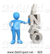 3d Clip Art of a Blue Person Leaning Against the Word INFO on White by 3poD
