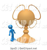 3d Clip Art of a Blue Person Looking Upwards in Awe at His Gold Championship Trophy by 3poD