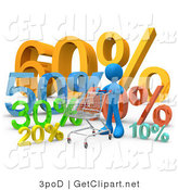 3d Clip Art of a Blue Person Pushing a Shopping Cart past Discount Percentage Signs in a Store on White by 3poD
