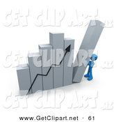 3d Clip Art of a Blue Person Pushing up the Last Column on an Ascending Bar Graph Chart, Symbolizing Effort and Success by 3poD