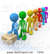 3d Clip Art of a Blue Person Standing at the Front of a Colorful Line of Diverse VotersBlue Person Standing at the Front of a Colorful Line of Diverse Voters by 3poD