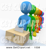 3d Clip Art of a Blue Person Standing at the Front of a Line of Diverse Rainbow Voters on Election DayBlue Person Standing at the Front of a Line of Diverse Rainbow Voters on Election Day by 3poD