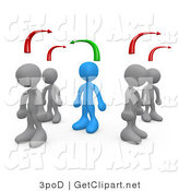 3d Clip Art of a Blue Person Standing Between Two Different Rows of Gray People, Thinking Differently from Other People by 3poD
