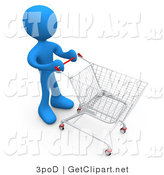 3d Clip Art of a Blue Person Standing in a Store Pushing a Shopping Cart by 3poD