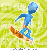 3d Clip Art of a Blue Person Wearing Orange Board Shorts and Surfing over a Green Background by 3poD