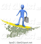 3d Clip Art of a Blue Wealthy Businessman Person Carrying a Briefcase and Standing Proud on a Yellow Surfboard While Surfing on Money by 3poD