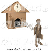 3d Clip Art of a Brown Businesman Standing in a Suit, Holding a Briefcase and Sticking out from an Arm of a Cuckoo Clock upon the Hour of 9am, Symbolising the Start of a New Work Day, or Punctuality by 3poD