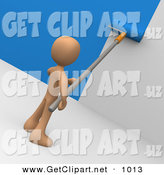 3d Clip Art of a Brown Person Using a Roller to Apply Blue Paint to a White Wall by 3poD