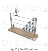 3d Clip Art of a Businessman Carrying a Beam and Balancing on a Tightrope on an Abacus with Increasing Profits by 3poD