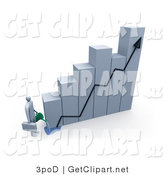 3d Clip Art of a Businessman Carrying a Briefcase, Pouring Water on a Bar Graph Two Increase Company Profits by 3poD