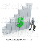 June 10th, 2013: 3d Clip Art of a Businessman Holding a Briefcase and Standing Beside a White Ascending Bar Graph Chart with a Green Dollar Symbol on It by 3poD