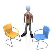 3d Clip Art of a Businessman in a Brown Suit, Standing Between an Orange and a Blue Chair, Symbolizing Two Different Job Opportunities That He Must Choose Between by 3poD