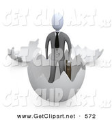 3d Clip Art of a Businessman in a Suit Carrying a Briefcase and Coming out of an Eggshell by 3poD