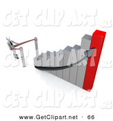 3d Clip Art of a Businessman Standing in Line and Waiting for His Turn to Climb to Success and up an Ascending Silver and Red Bar Graph Chart by 3poD
