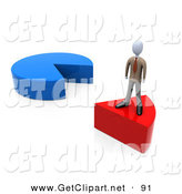 3d Clip Art of a Businessman Standing on a Removed Red Slice of a Pie Chart by 3poD