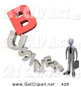 3d Clip Art of a Businessperson Holding a Briefcase and Standing at the End of the Word Business with a Red Letter B by 3poD