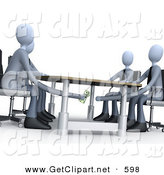 3d Clip Art of a Businessperson Paying or Bribing Another Under the Table During a Business Meeting by 3poD