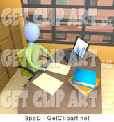3d Clip Art of a Businessperson Seated in a Chair at Their Desk by a Laptop Computer, Working on Paperwork in a Skyscraper Office in the City by 3poD